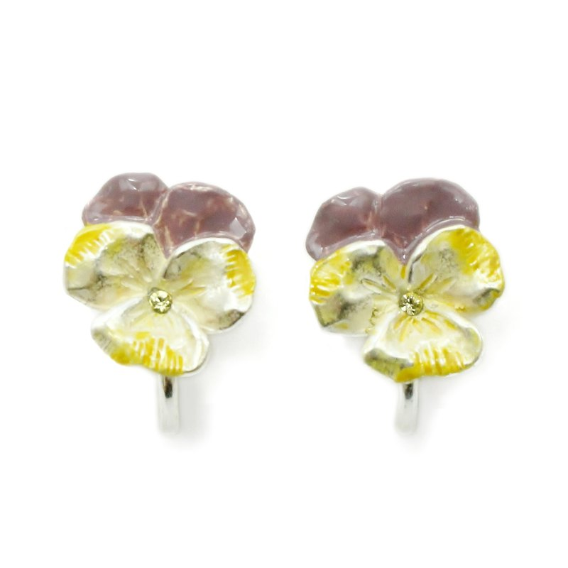 Pansy Clip Earring SV / Pansy Earrings Silver EA073SV