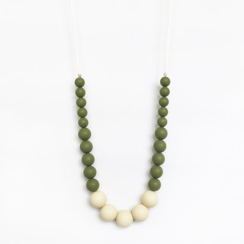 COLOR BLOCK SILICONE NECKLACE - OLIVE