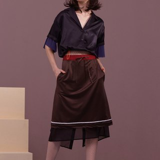 ENVOL AVEC NING silky spell color dessert skirt - coffee