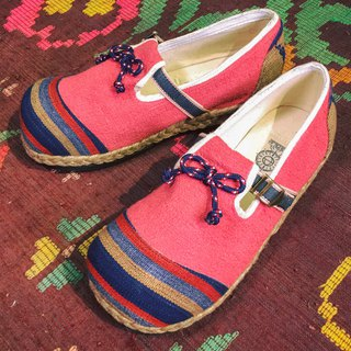 """PEACH BOW"" Natural Hemp & Recycle Tire Bottom Eco Shoes"