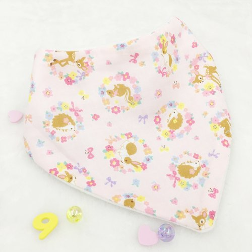 Triangle Bib - Pink Garden Animals