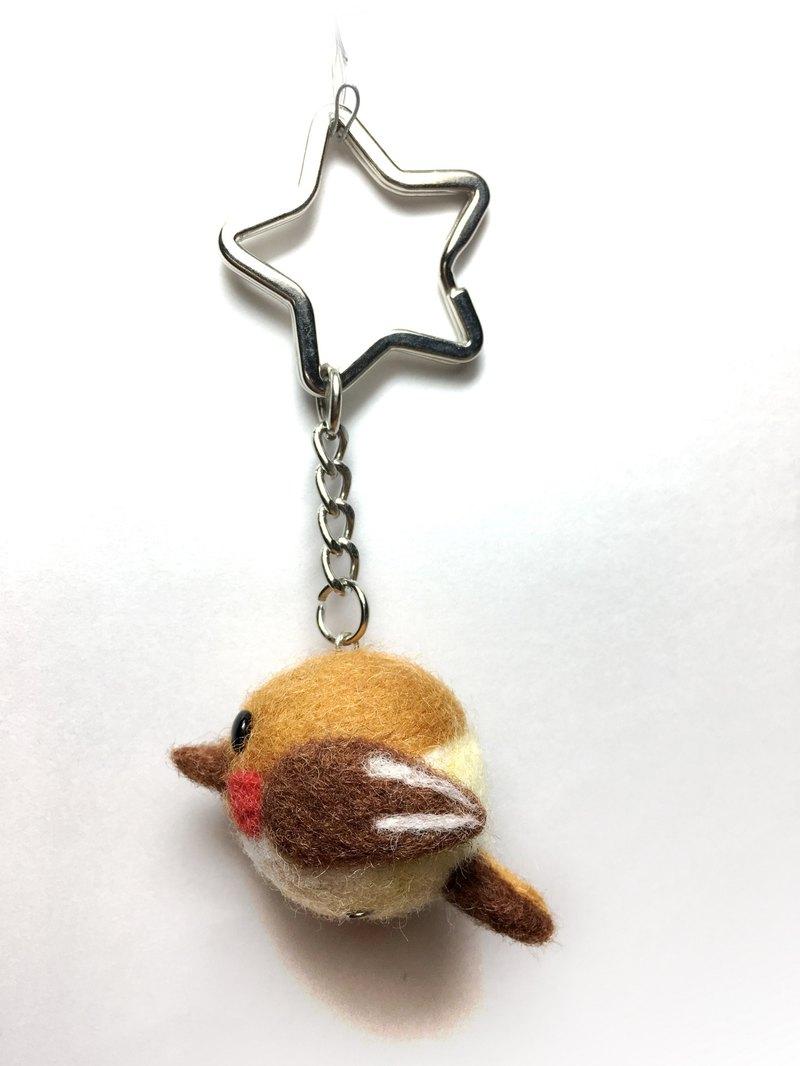 羊毛氈  可愛胖鳥  鑰匙圈  吊飾 (咖/黃)