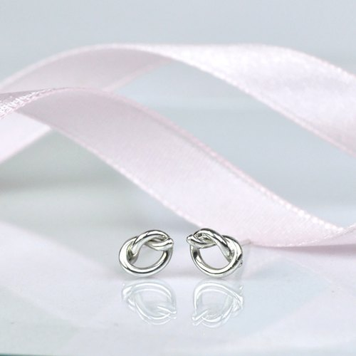 tiny love knot stud earrings / heart knot / sterling silver