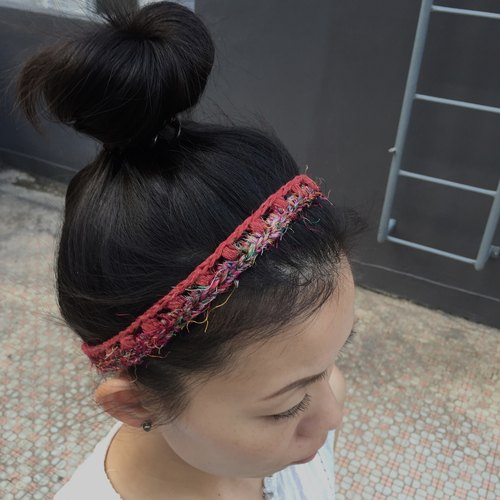 Crochet slim headband -denim cotton x sari silk (2 colour available)