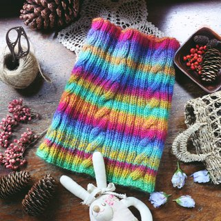 Handmade Handmade - Rainbow Twist - Wool Knit Bib / Neck
