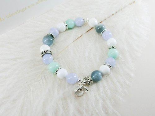 Rhyme temperament natural stone beaded silver bracelet - blue and white line - Yue unicorn-925 sterling silver Tibetan silver blue sapphire agate gift Tanabata Valentine's Day