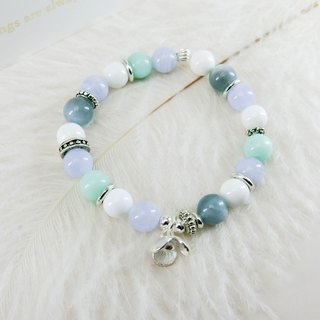 Rhine temperament natural stone beaded silver bracelet │ blue white 玥 unicorn sterling silver Tibetan blue aquamarine blue onyx gift Tanabata Valentine's Day birthday gift