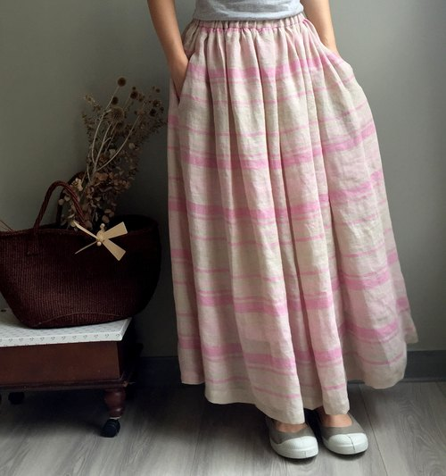 [Wensheng Forest] pink stripes European wind romantic linen dress (100% Linen) only one