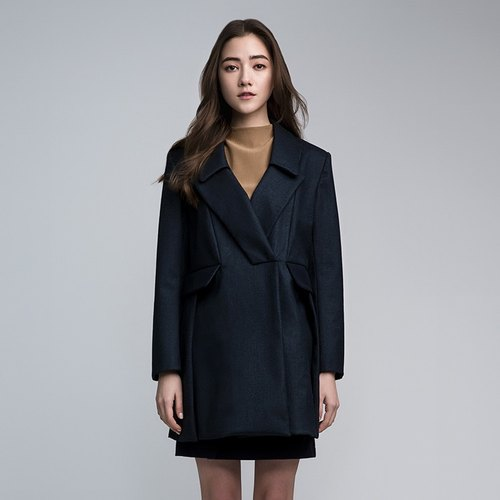 VACAE hidden dark blue double-breasted coat M
