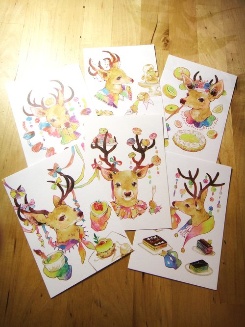 Dessert deer series white postcards Dessert Deer Postcard Set