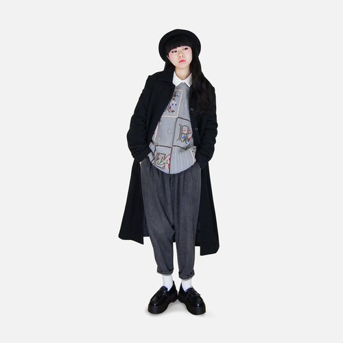 A‧PRANK: DOLLY :: VINTAGE retro with dark gray wool Tibetan buckle woolen coat long coat