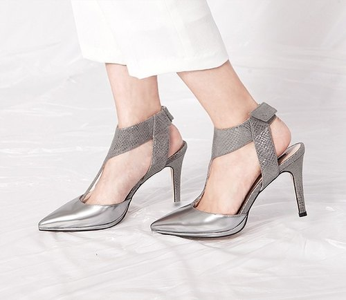 T word around the ankle structure pointed leather fine high heels silver