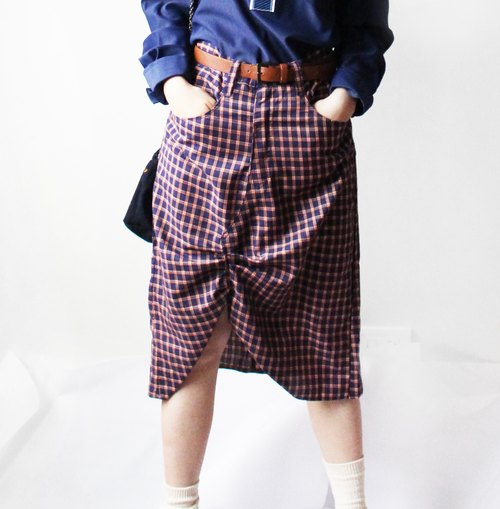 4.5studio- [R;] Restyle-A-levis' plaid skirt