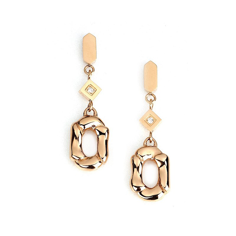Natural diamond woven earrings