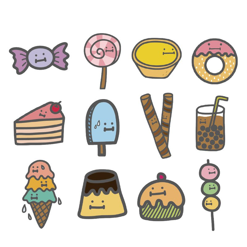 Customized waterproof name stickers dessert series 12 into / sticker