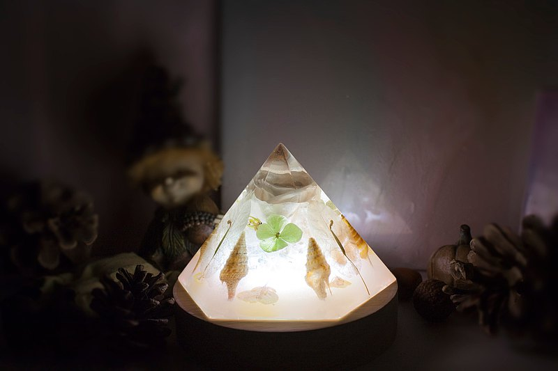 Immortal flower white rose hand-made log night light hexagonal cone-shaped dry flower atmosphere light handmade practical gift