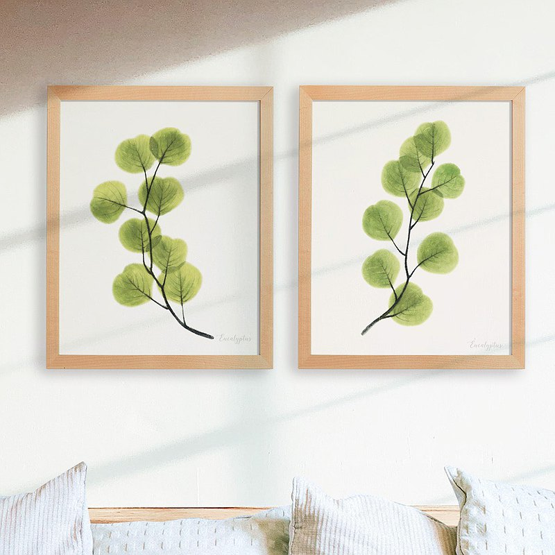 The silent bedroom restaurant hanging painting plant watercolor copy painting fresh healing green decorative painting