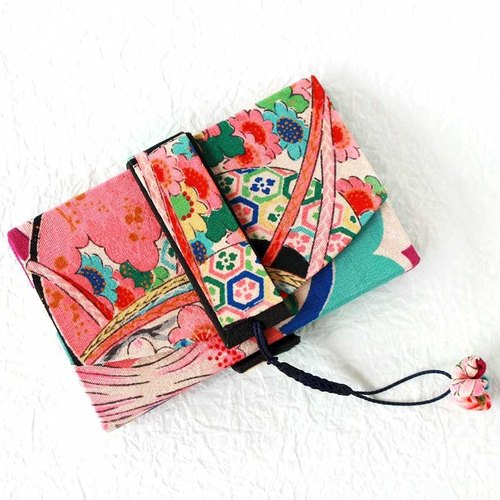 Japanese style business card holder (筥 风 風) Antique kimono remake drum, cloisonne, clover pattern