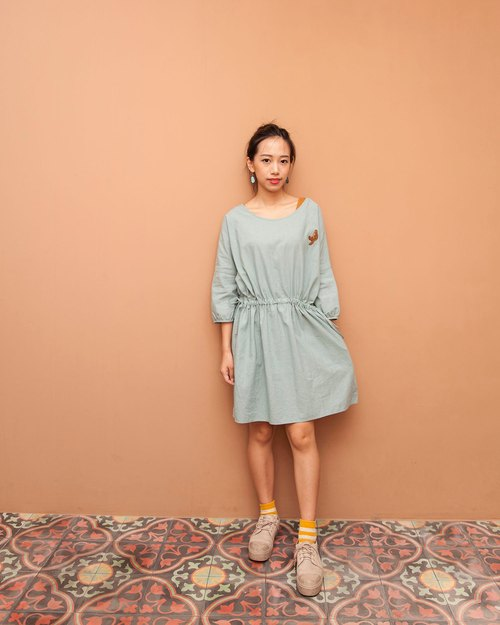 Fifth sleeve cotton dress - sea otter mother