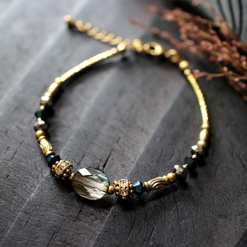 EF Crystal NO.4 Bronze Phantom Corrugated Crystal Brass Bracelet