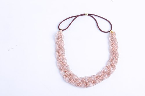 beads headband clear pink wide