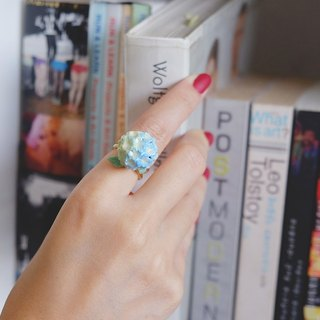 Hydrangea Blue Ring , Flower Ring , Handpainted GOODAFTERNINE