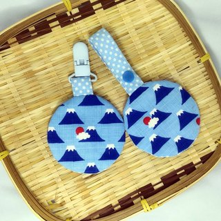 Japan's Mount Fuji (sky blue) / baby round peace symbol bag. Fu bag. Incense bag. Poetry bag.