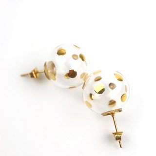 SUSIE GOLD DOTS - Gold-paint polka dots bubbles stud earrings