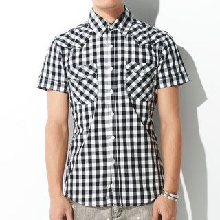 Cowboy double pocket white black purple plaid short-sleeved shirt