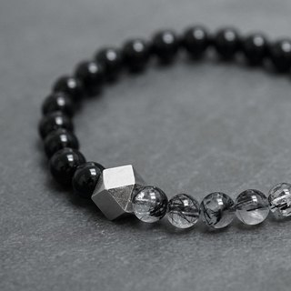 BLACK natural black tourmaline hair bracelet VISHI original design s925 sterling silver men and women couple