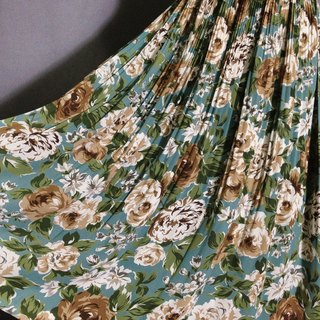 When vintage [antique dress / skirt large lake blue flowers antique dress] abroad back VINTAGE