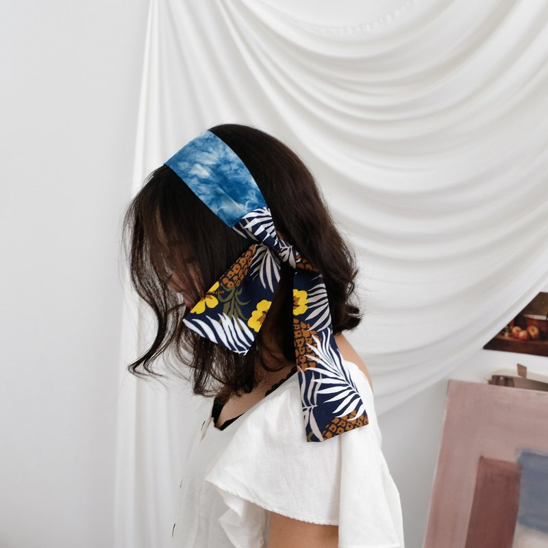 Free post blue dyed remix print hair with a little big flower spell small daisies blue dyed hair with a tie bag decoration