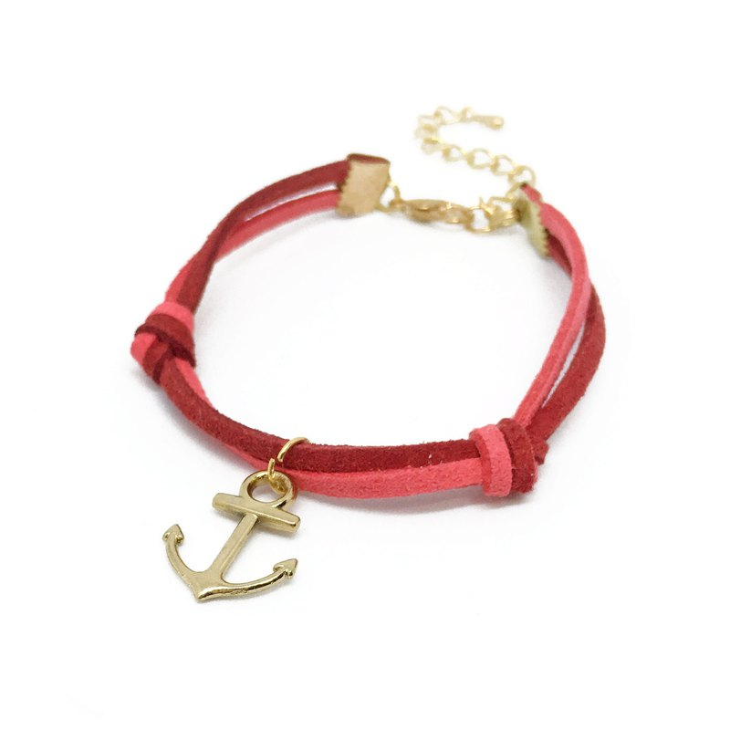 Handmade Simple Stylish Anchor Bracelets Rose Gold Series–red limited