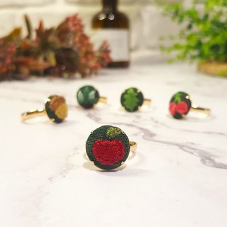 Embroidered cloth ring_Forest Series_Apple