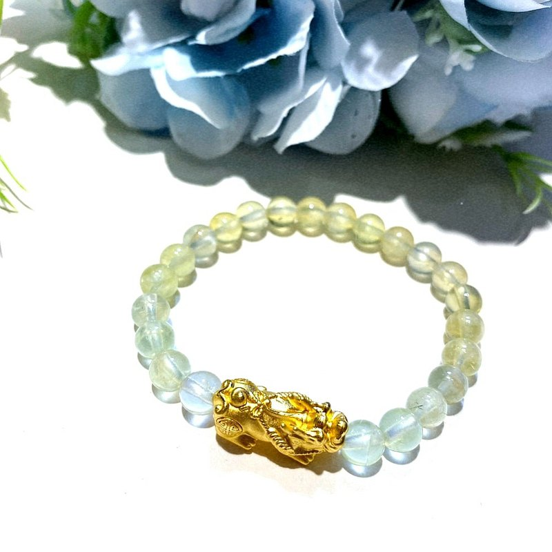 Eli Jewelry 9999 Pure Gold Wealth Lucky Gold Pixiu Natural Prehnite Gold Bracelet