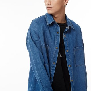 Blue denim shirt jacket # 8744
