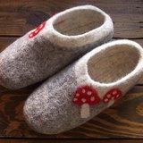 【樂拍子】尼泊爾 羊毛氈 手工鞋 室內鞋 室內拖(蘑菇 23cm/24cm/25cm)