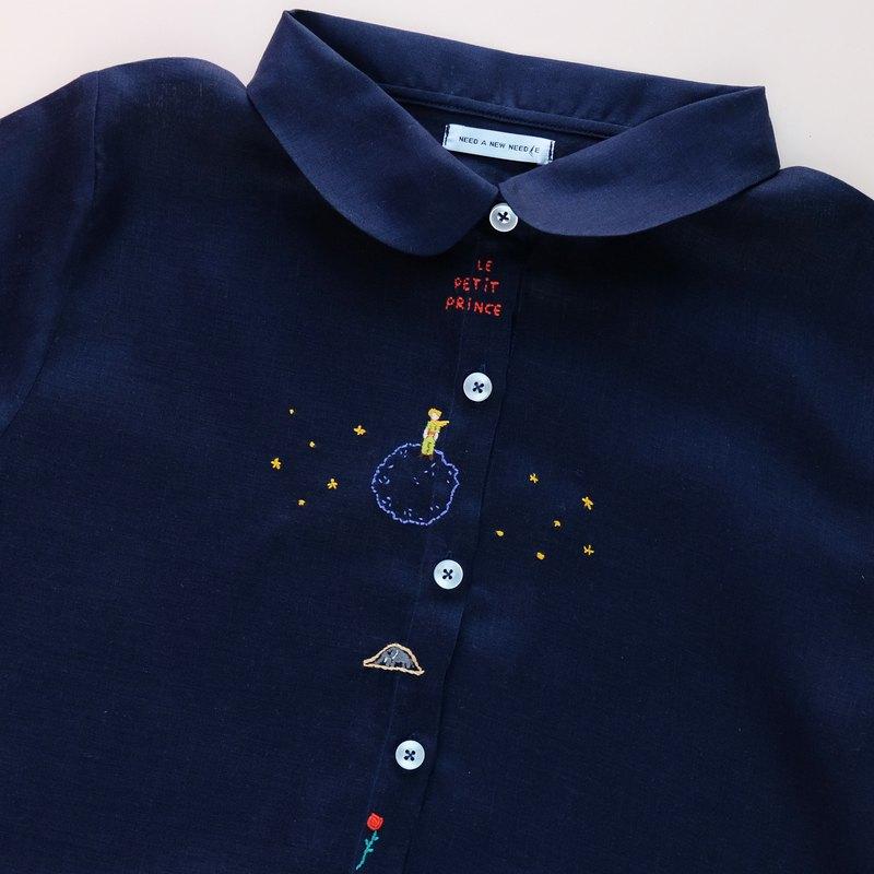 長袖海軍藍麻襯衫-Le Petit Prince