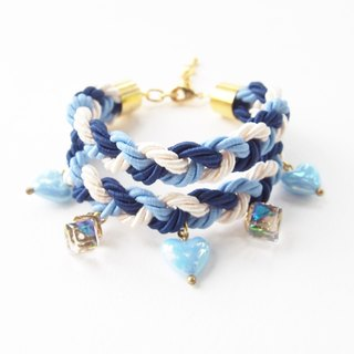Navy,Blue & White double stack bracelet + heart and cyrstal charms