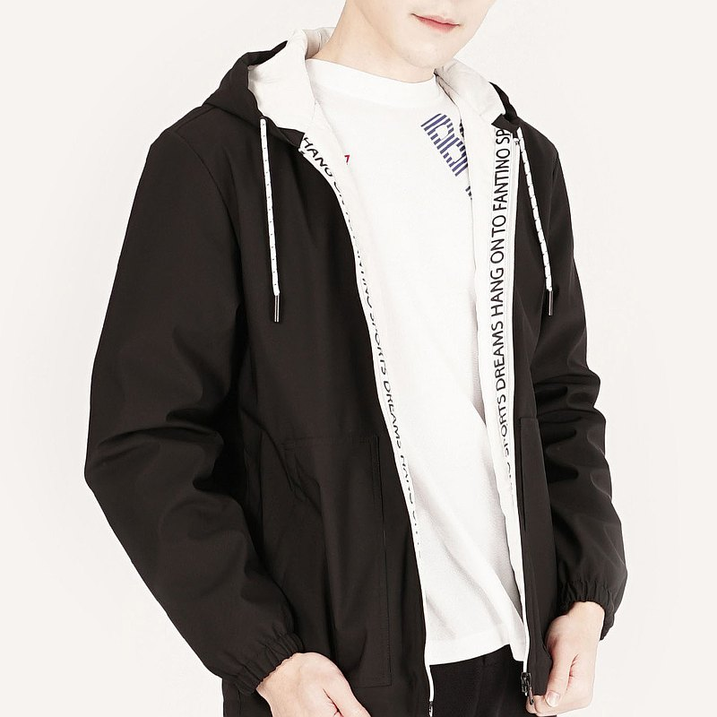 [Boyfriend Gift/Free Shipping] Waterproof Letter Zipper Cotton Hooded Men's Jacket│Black
