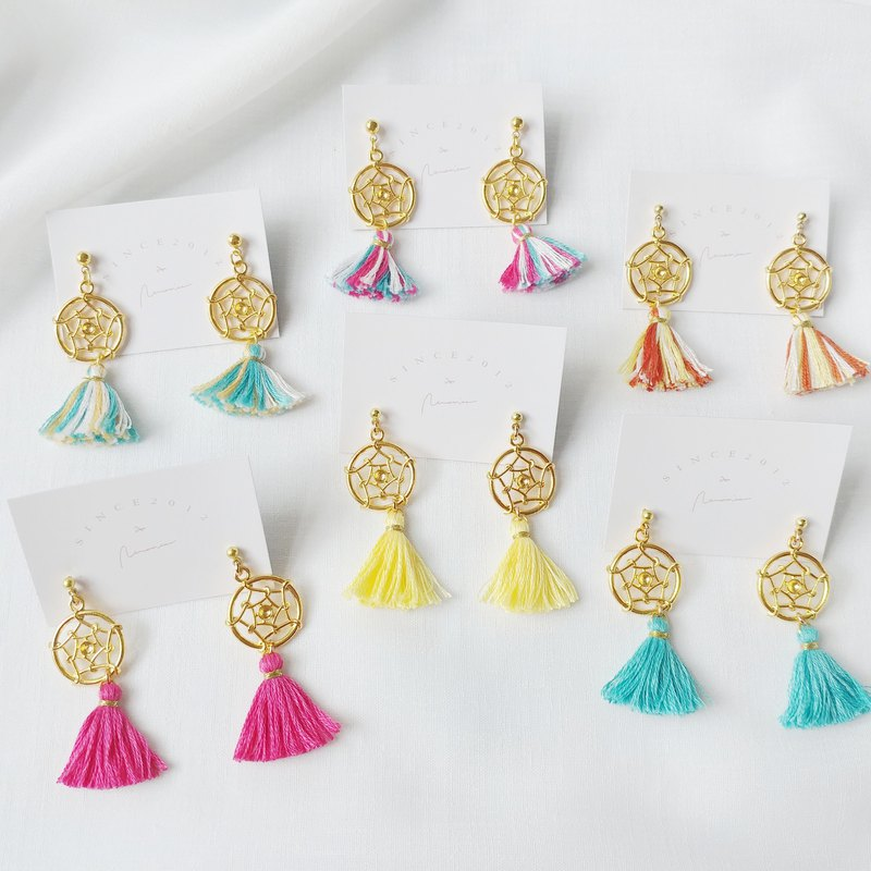 Small dream catcher tassel earrings / ear clip