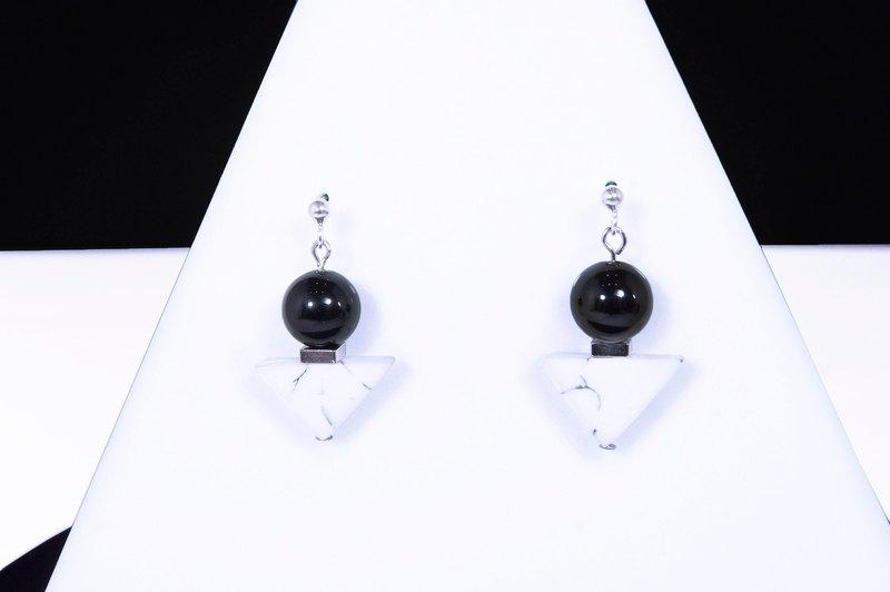 黑白幾何切割三角大理石耳環