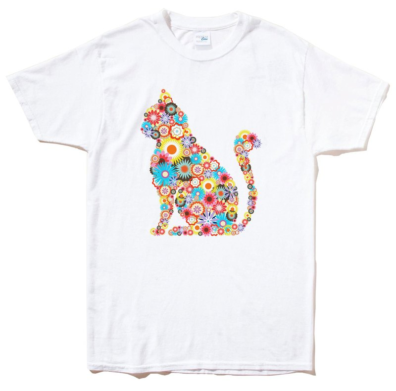 Floral Cat Short Sleeve T-shirt White Cat Floral Design Illustration Art