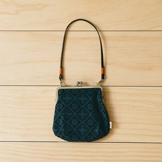 Gourd Shaped Clasp Frame Bag/Begonia Glass Pattern/Midnight Navy