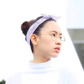 【The MAMA's Closet】Checked Series (Blue) / Classic Headband