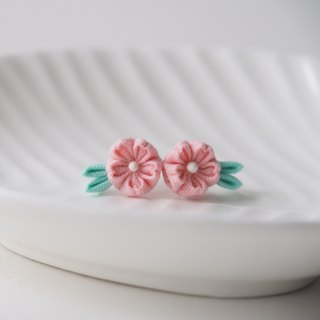 Melon Cherry Blossom Sakura stud Earrings Clip-on 14KGF, S925 custom