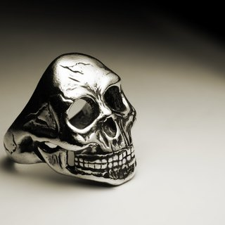 Big skull head ring