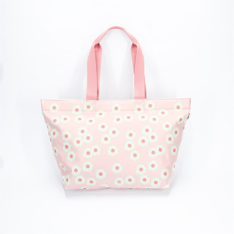 Ra Eco-friendly Super Light Waterproof Floral Tote (Pink Daisy)