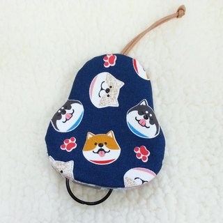 Laughing Shiba Inu (blue) pear-type key bag [K180303]