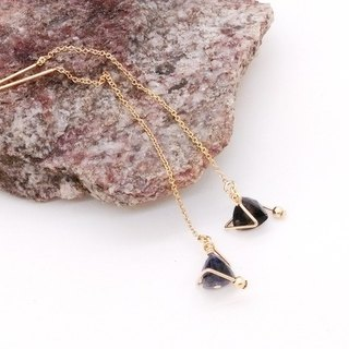 Mini Planet Earrings / Iolite gemstone 14K GF tiny light earwire earring. X'mas